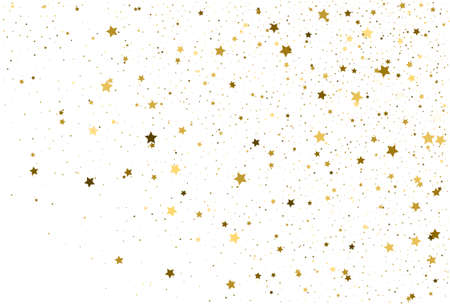 Gold stars. Celebrating Confetti. Falling gold abstract decoration for party, birthday celebration, anniversary or event, wedding, festive.