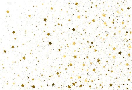 Light gold glitter confetti background. Golden stars. Illustration