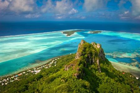 french polynesia: View on the peak mountain, Maupiti, French Polynesia     , Society Islands Stock Photo