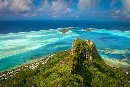 View on the peak mountain, Maupiti, French Polynesia     , Society Islands Stock Photo