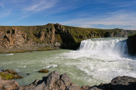 Landscape view of famous waterfall Godafoss in Iceland  photo
