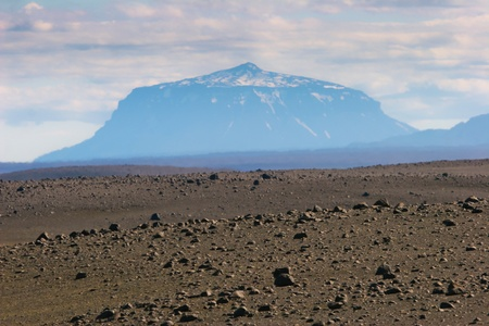 Landscape with volcano in the background, Iceland