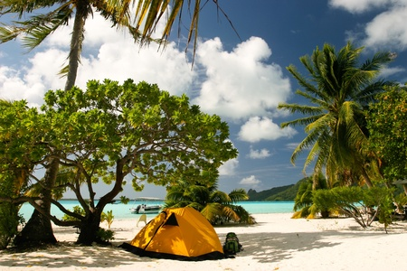 Camp on the paradise tropical beach, Maupiti, French Polynesia  photo