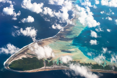polynesia: View of one of the Tuamotu Atoll, French Polynesia
