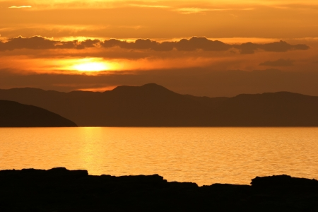 Sunset at Lake Turkana, Kenya Stock Photo