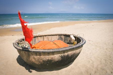 Traditional Vietnamese boat in the basket shaped , Mui Ne, Vietnam  Stock Photo