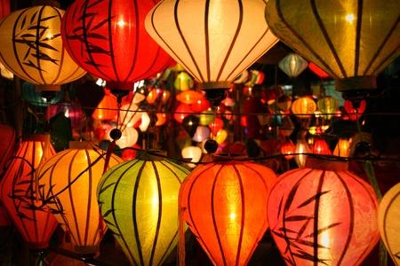 Colorful lanterns at market street,Hoi An, Vietnam