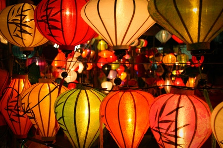 hoi an: Colorful lanterns at market street,Hoi An, Vietnam