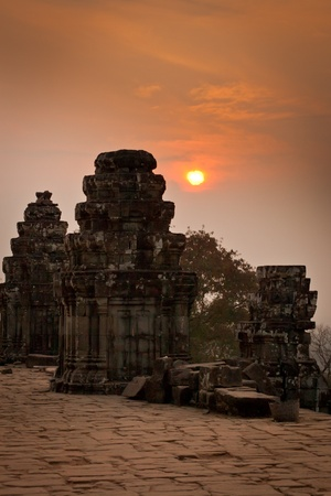View of sunrise at the temple on the hill, Angkor Wat, Cambodia  Stock Photo - 13335461