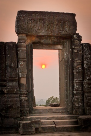 View of sunrise at the temple on the hill, Angkor Wat, Cambodia  photo