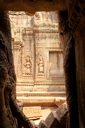 Stone carvings on the wall of the temple, Angkor Wat, Cambodia  photo