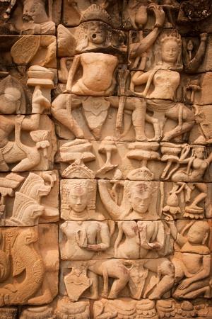 edad de piedra: Detalles de la escultura de piedras, Angkor Wat, Camboya