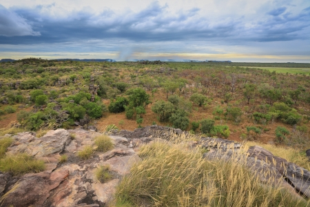 nt: Landscape of Kakadu National Park with bush fire in the background,, Australia Stock Photo