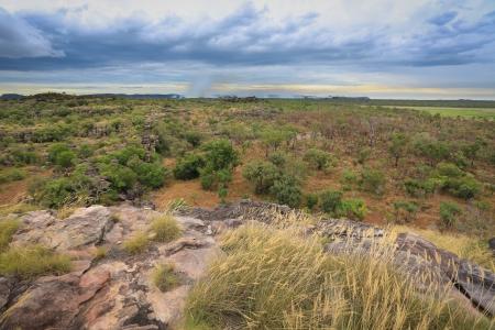 Landscape of Kakadu National Park with bush fire in the background,, Australia Stock Photo