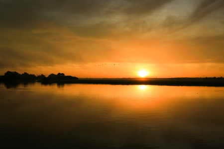 Sunrise at yellow waters in the wetland of Kakadu National Park