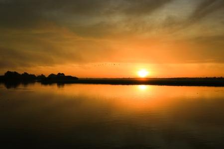 pandanus: Sunrise at yellow waters in the wetland of Kakadu National Park