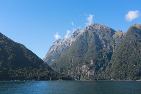 Landscape view of Fiordland National Park, southern Island, New Zealand