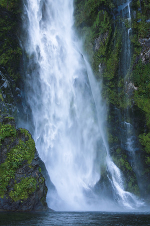 Waterfall of Milford Sound fiord, Fiordland National Park, New Zealand
