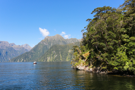 Mitre Peak rising from the Milford Sound fiord. Fiordland national park, New Zealand
