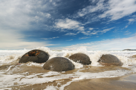 Moeraki Boulders, South Island, New Zealand Stock Photo