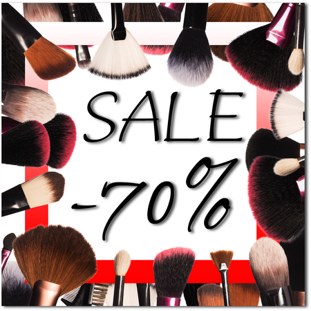 Sale on background with professional makeup tools Standard-Bild - 97354559