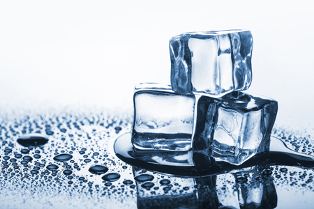 Close up on melting ice cubes