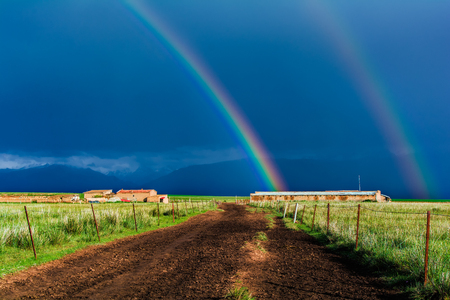 Double rainbow at grassland in Xinjiang