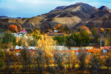 Autumn scenery in Temple of Xinjiang Imagens