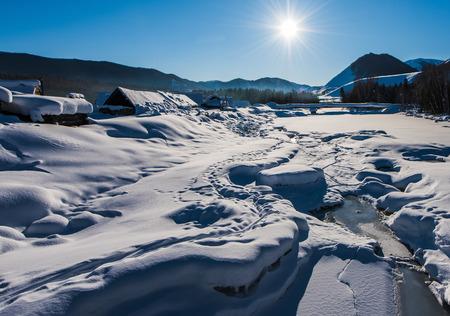 Xinjiang Hemu village winter scenery