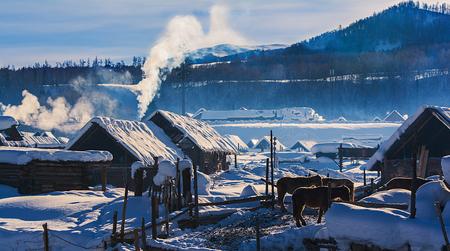 Xinjiang Hemu village morning smoke Imagens