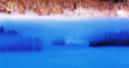 Xinjiang Kanas morning misty scene
