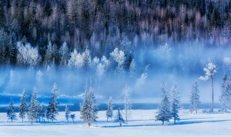 Xinjiang Kanas morning snowy scene Imagens