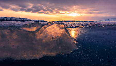 Xinjiang Sailimu Lake Winter Scenery
