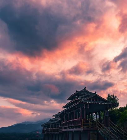 Guangxi Longji Terraced Covered bridge Scenery