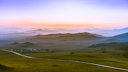 Landscape view of sunrise on the veld Stock Photo