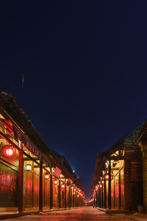 Night view of the ancient town of Yao Wan Editorial