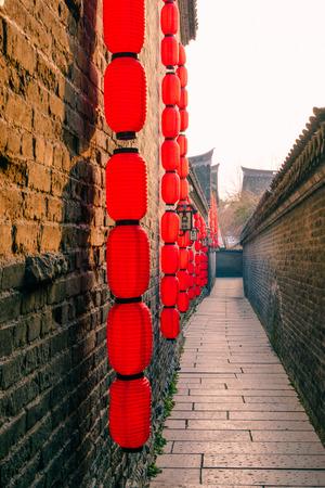Red lanterns in the setting sun Lane