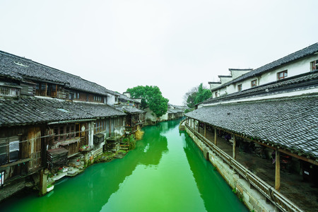 Landscape view of an ancient town in China Editorial