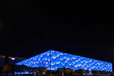The night view of the water cube at the National Swimming Center