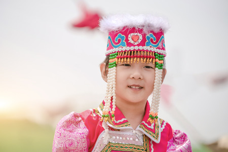 A girl in a Mongolia dress Stock Photo