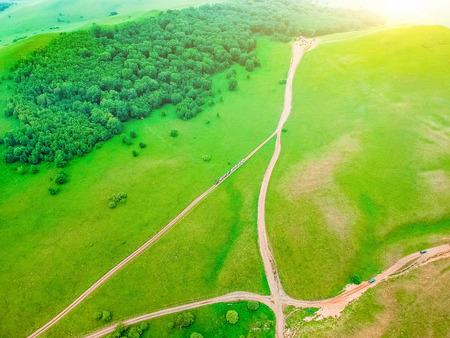 Aerial photography Wulan Butong Grassland Stock Photo