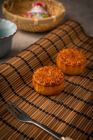 Chinese traditional festival Mid-Autumn Festival -delicious mooncakes Standard-Bild - 128422944