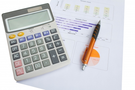 colorful  close up calculator for business and finance photo