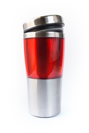 insulated drink container: Photo of aluminum red mug Stock Photo