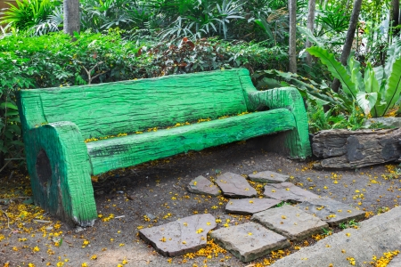 Photo of Green bench in garden Stock Photo - 18379340