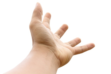 Photo of empty open man hand on white background Stock Photo - 19091004