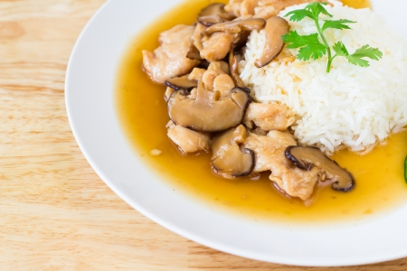 photo of Chicken and mushroom with sauce over rice photo