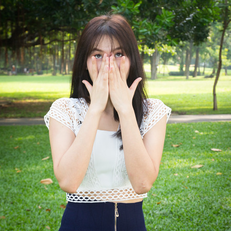 bruit: Photo of Young woman hands hand over mouth and nose Stock Photo