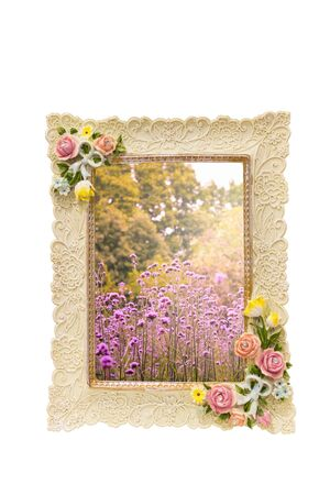 Image of a frame with rose texture around border isolated on white and inside with Colorful Vervain flowers meadow nature in vintage spring tone style for background graphic and card design Zdjęcie Seryjne