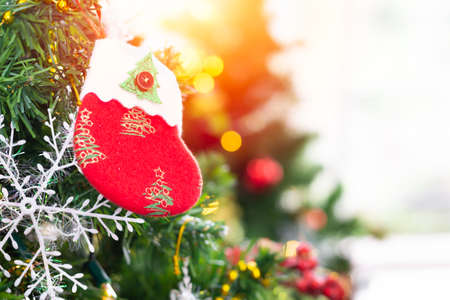 A small red sock hanging on Christmas tree Ideas to welcome the upcoming Christmas season. Archivio Fotografico